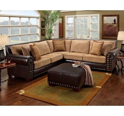 Traditional Brown U0026 Tan Sectional Sofa W/ Nailhead Accents 650 17 Leather  Sofa World Tan. Not The Colors I Wanted But The Idea Merges My And My  Husbandu0027s ...