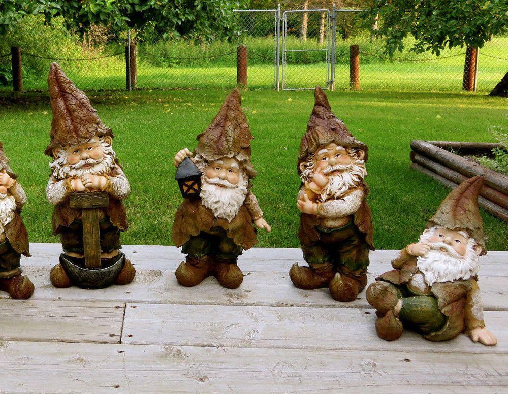 Gnome In Garden: SET OF 4 WOODLAND GARDEN GNOMES LAWN ORNAMENTS YARD DECOR