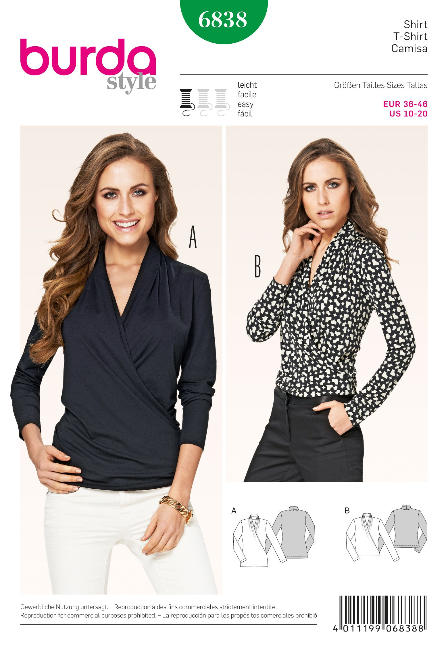 Purchase Burda 6838 Tops and read its pattern reviews. Find other Tops, sewing patterns...