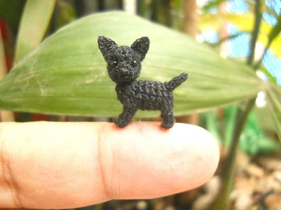Black Chihuahua Dog Tiny Amigurumi Micro Crochet Miniature Dog