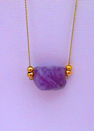 Handmade Necklace- 20 inches Gold String with a Chain Extender & Purple Agate Nugget Pendant And Gold Beads