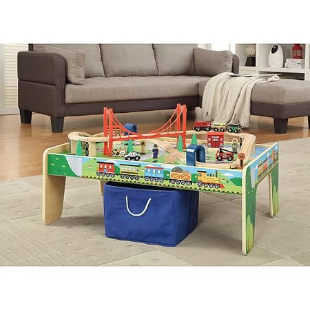 Wooden Train Set with Small Table Only At Walmart compatible with thomas and brio wooden train sets  sc 1 st  Pinterest & Wooden 50-Piece Train Set with Small Table Only At Walmart ...