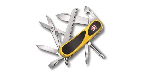 Suveræn kvalitets lommekniv fra verdenskendte Victorinox!    Den originale schweizerkniv i et nyt og innovativt design.    En hel værktøjskasse i lommeformat - intet mindre. Denne lommkniv har Evogrip og leveres i en frisk og iøjefaldende gul farve, der gør de