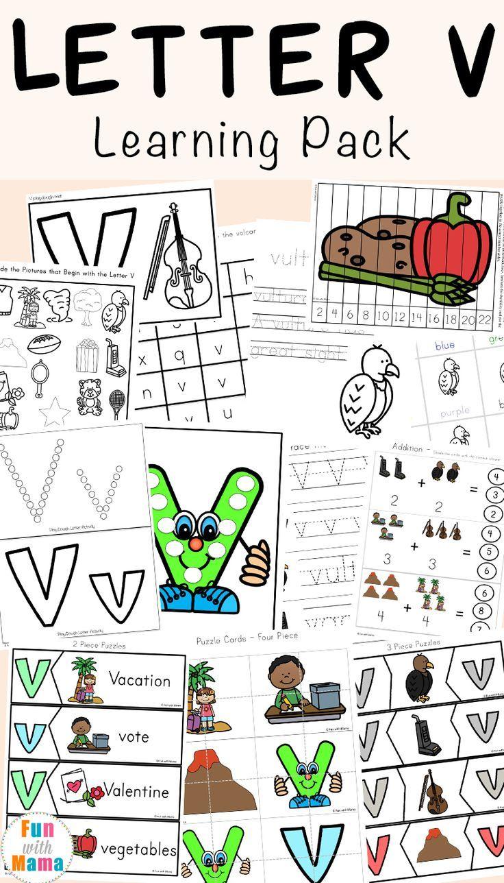 Letter V Worksheets for Preschool + Kindergarten