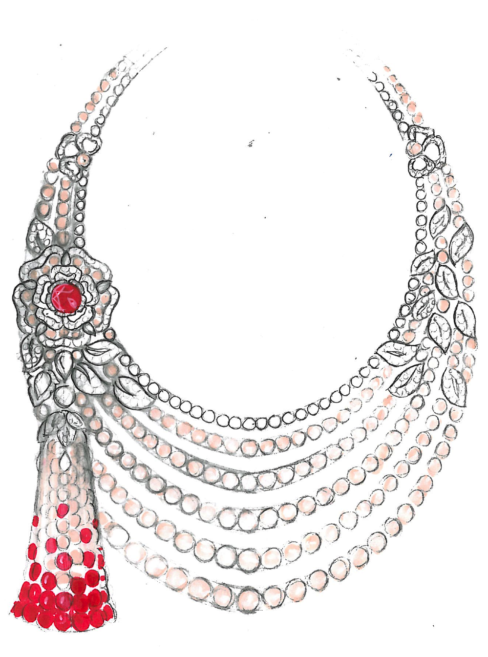 Necklace pearl sketch photo