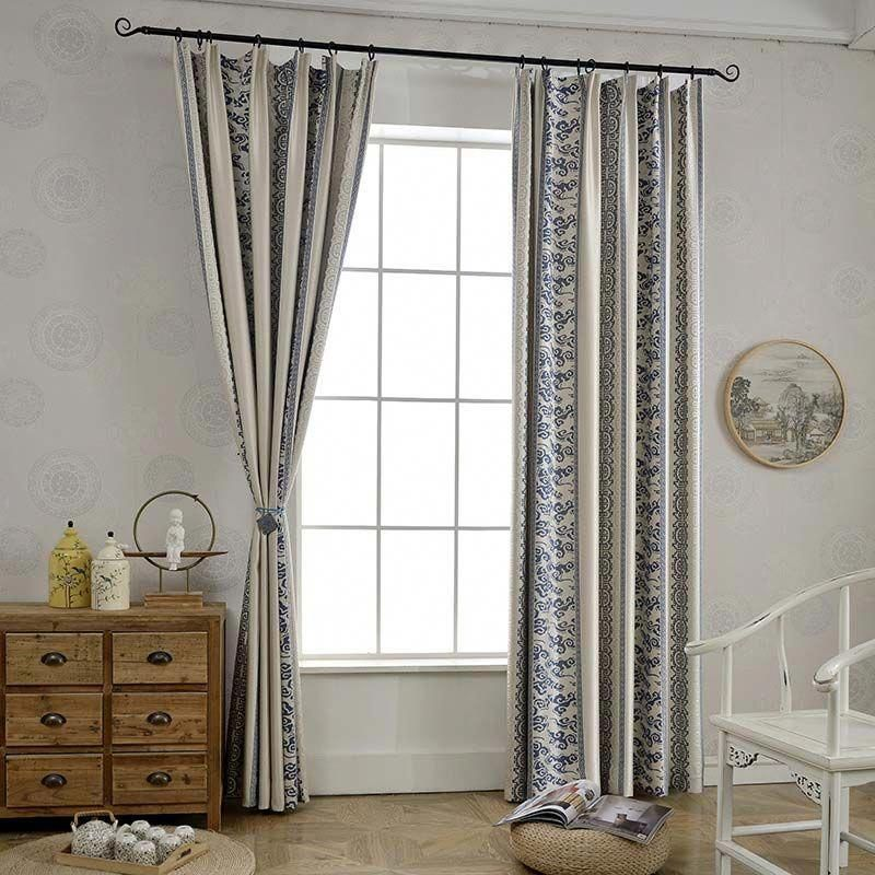 Classical Simple Curtain Unique Geometry Jacquard Curtain Living Room Bedroom Blackout Fabric Bestblackoutc Simple Curtains Curtains Living Room Cool Curtains