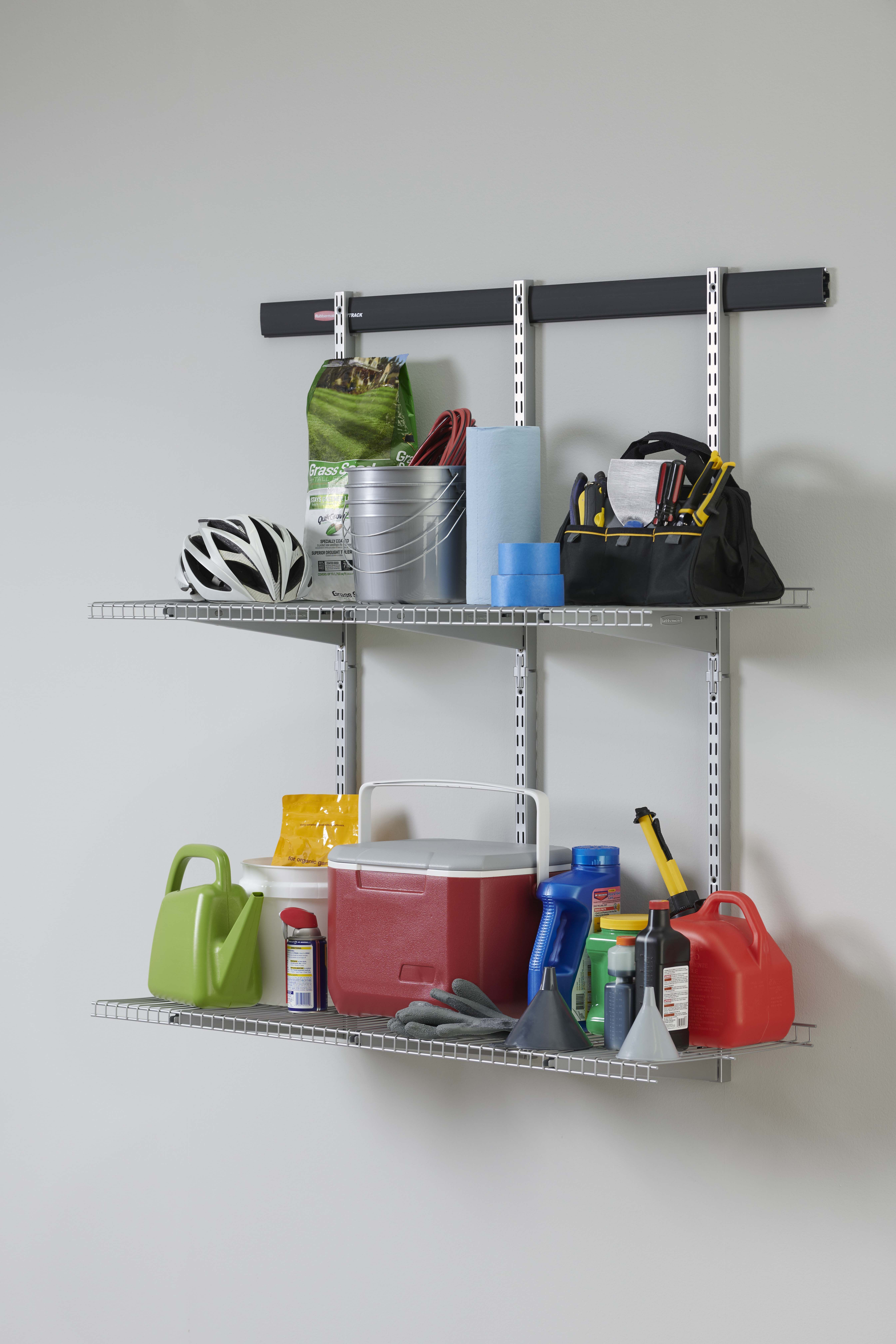 Rubbermaid Fasttrack Garage 84 In Hang Rail Track Storage System 1784416 The Home Depot Rubbermaid Garage Storage Wall Storage Systems Patio Storage