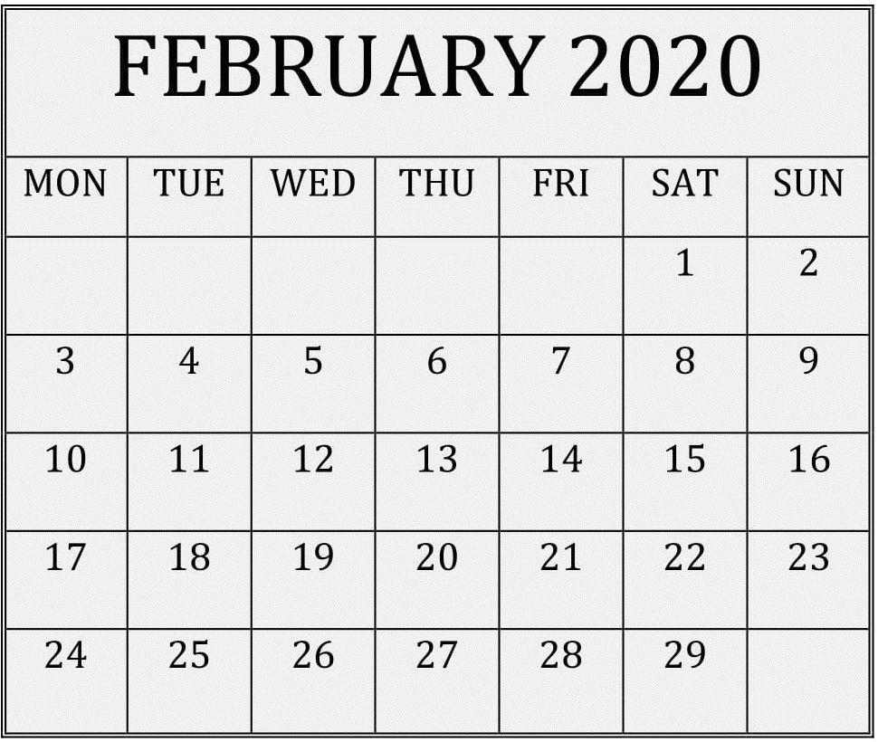 Blank Calendar February 2020 Printable Blank Editable Template In