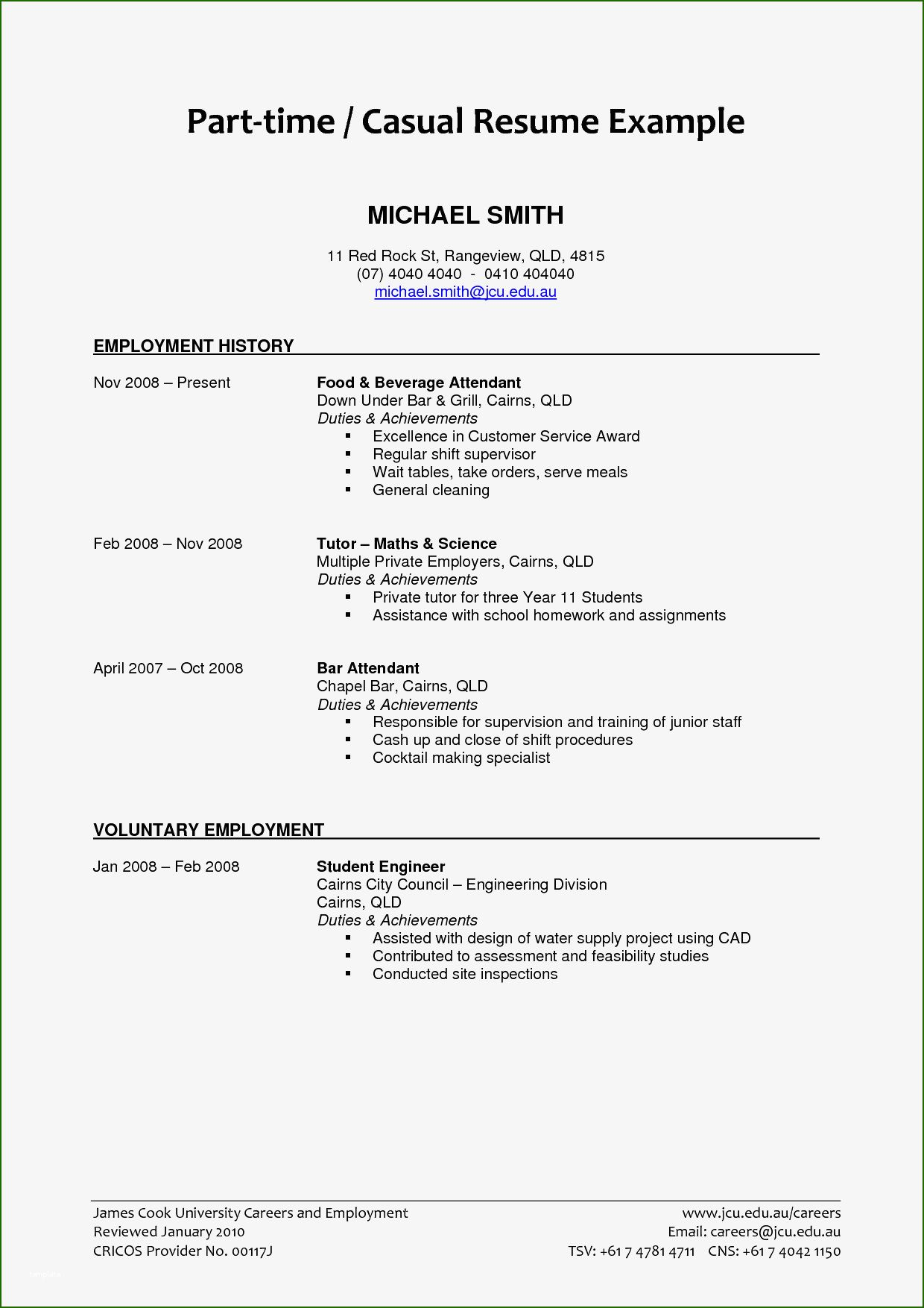 16 Amazing Part Time Job Resume Template in 2020 Job