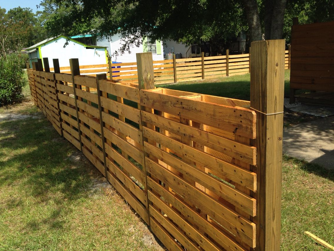 Pallet fencing. Sand and stain in 2019 | Backyard fences ...