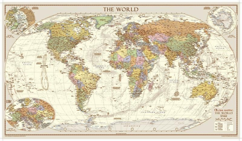 Buy World Map Clock. large world map  political antique style scale 1 30000000 trim 1333mm x