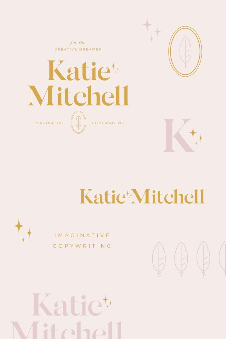 Imaginative Copywriter Branding is part of Graphic design branding, Branding design logo, Graphic design logo, Branding design, Personal branding inspiration, Branding - In today's design spotlight I'm sharing my process to craft Katie Mitchel's copywriter branding! I loved the magical notes throughout her brand Take a look!