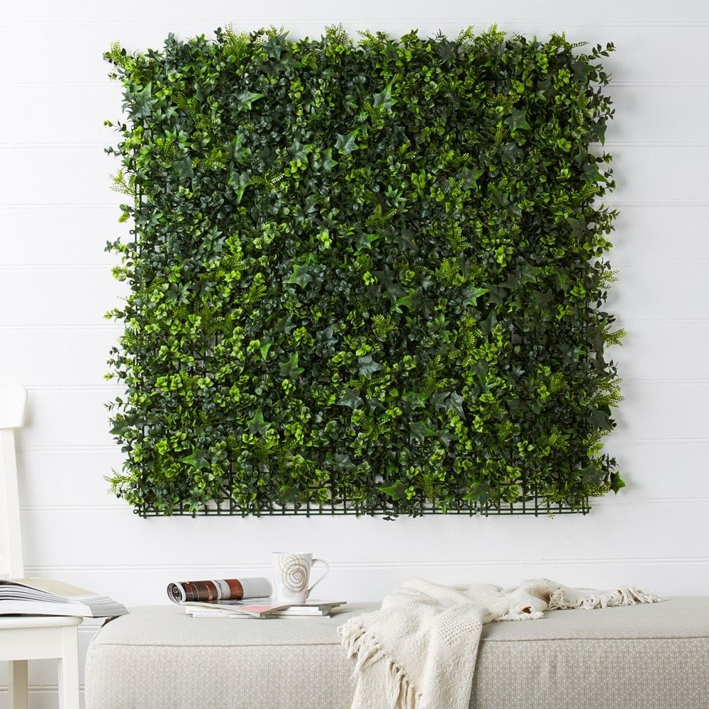 Artificial green wall panels ivy with fine leaf green for Wall plants outdoor