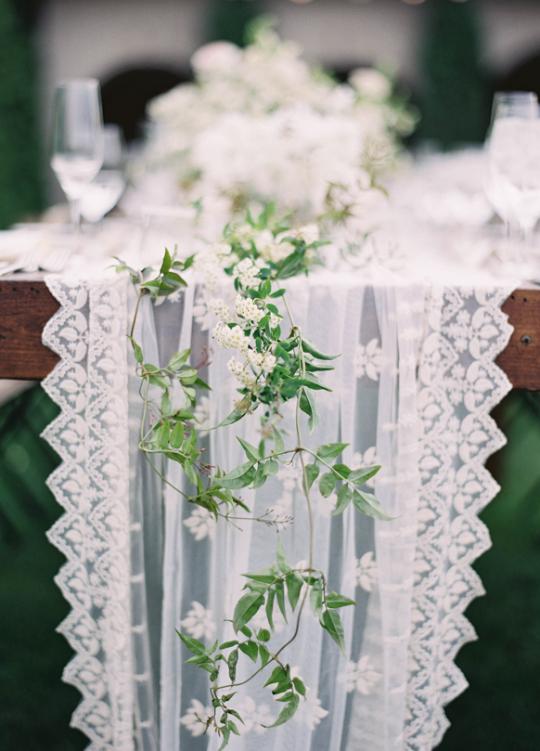 Elegant White Utah Wedding Table Runner Lace And Greenery