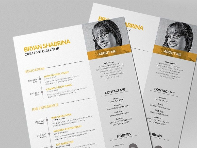 Free Vector Resume Template With Yellow Color Scheme In 2020 Resume Template Resume Template Free Vector Free