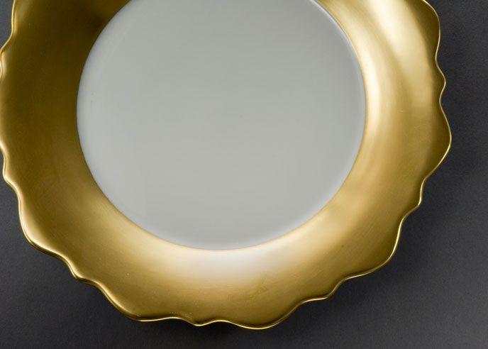 Samoa - Gold Full Rim Samoa Gold Rim Soup Plate from J.L. Coquet in Atlanta, GA from Travadavi