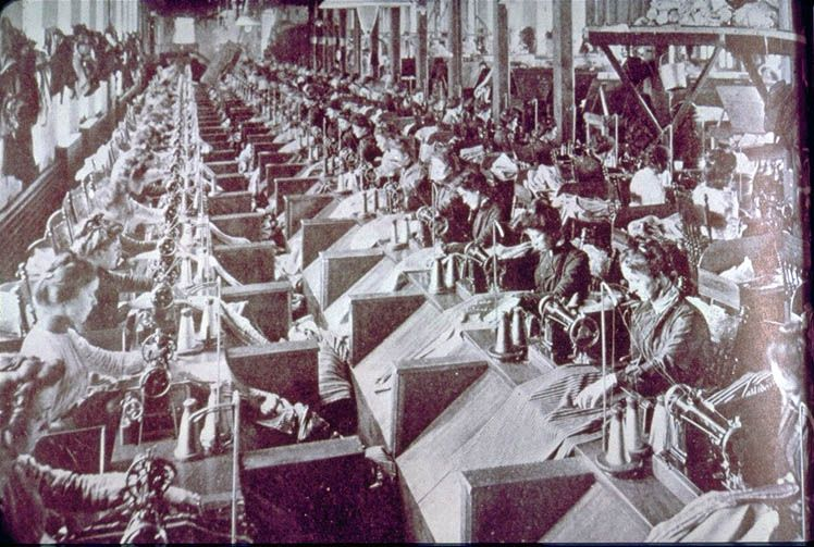 Workers In A Philadelphia Factory 40 Sewing Machines Were Custom Arch Sewing Machine Co Philadelphia Pa