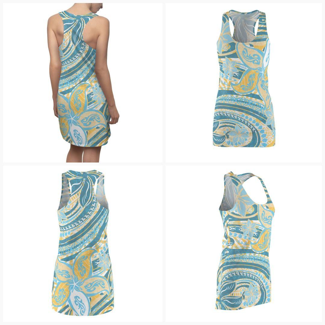 HAWAIIAN Tribal Fish Tapa Print.Womens Cut /& Sew Racerback Dress