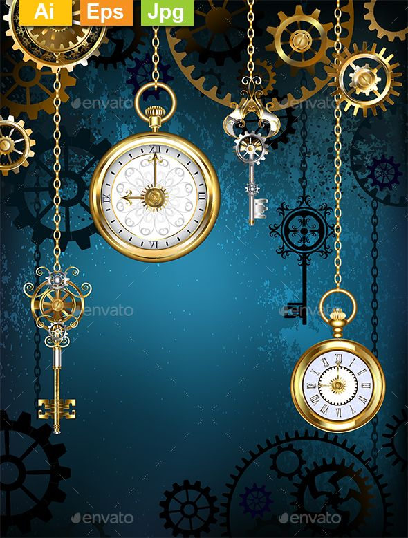 Design With Clocks And Gears Steampunk Background Steampunk Steampunk Clock