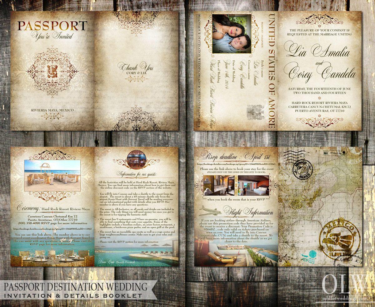 sapphire wedding anniversary invitations%0A Old World Vintage Passport Wedding Invitation by OddLotEmporium