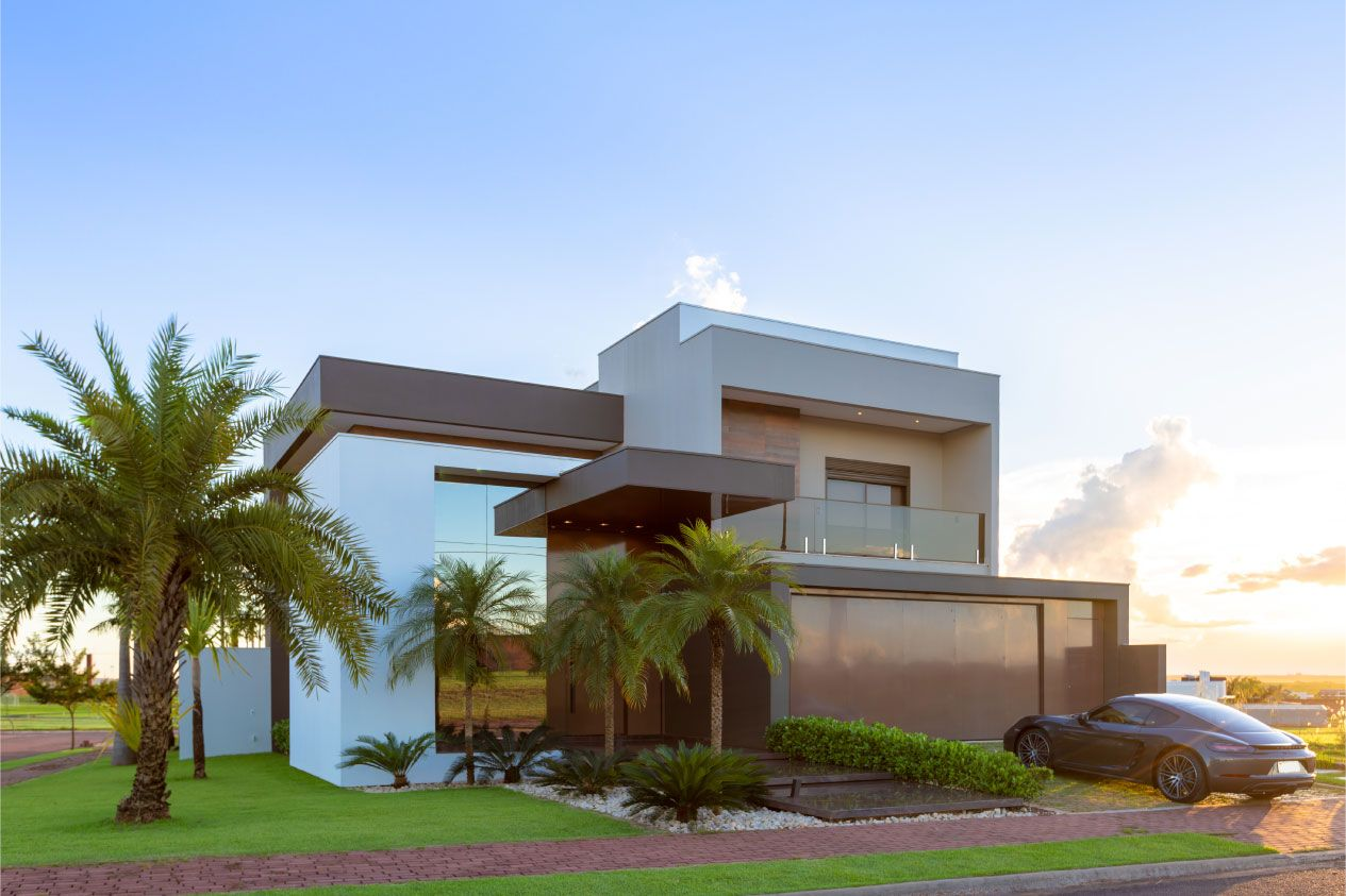 Fachadas de casas marrom