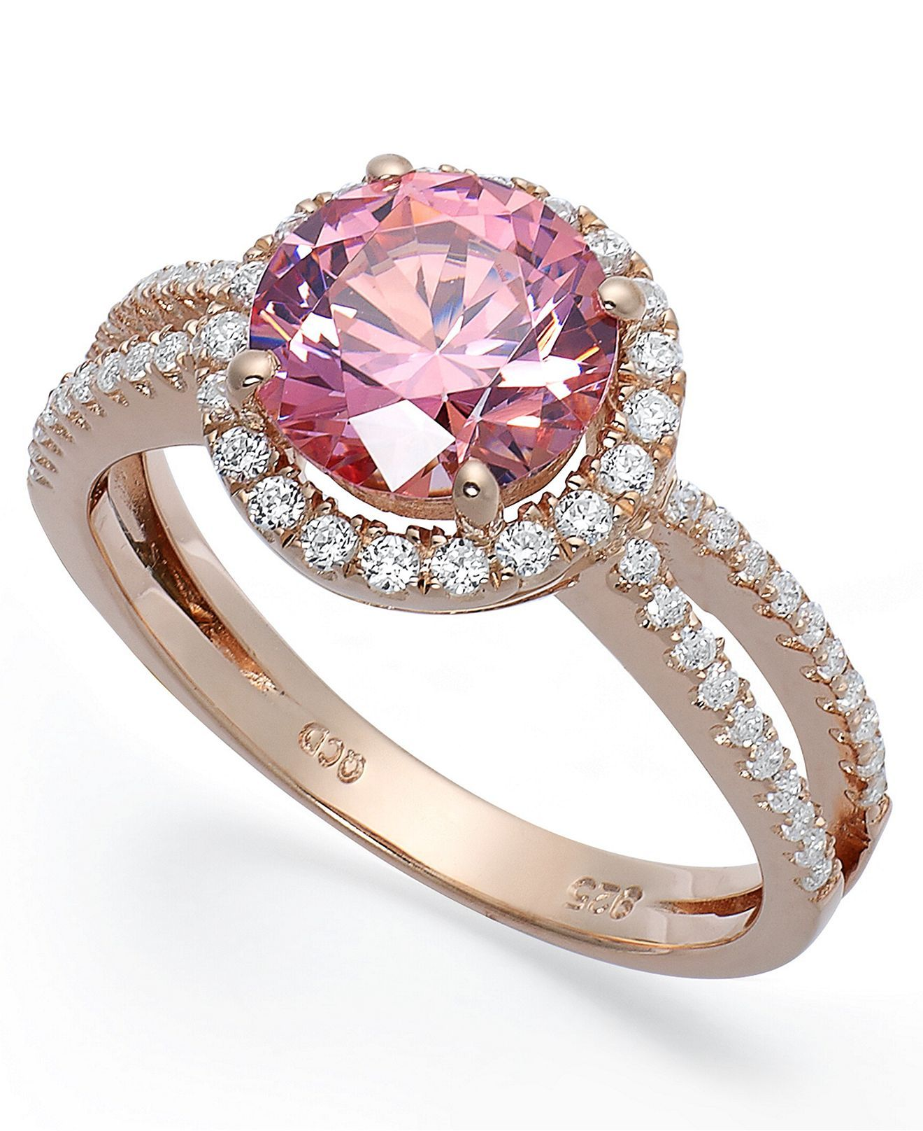 14k Rose Gold Over Sterling Silver Ring Pink Cubic Zirconia Wth Swarovski Elements Ring 4 3 4 Ct T Pink Gold Ring Engagement Sterling Silver Jewelry Jewelry