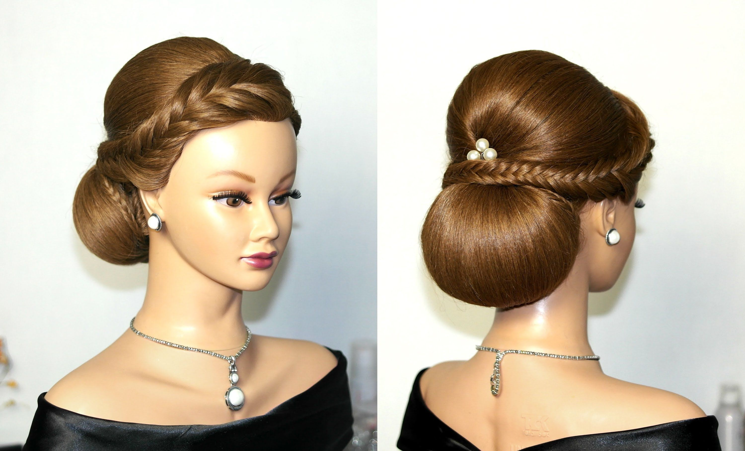 wedding hairstyles for medium long hair, elegant updo. Свадебная
