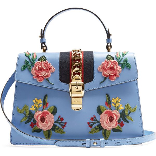 bbc410f172 Gucci Sylvie large floral-appliqué leather shoulder bag (10.870 BRL) ❤  liked on Polyvore featuring bags, handbags, shoulder bags, gucci, light  blue, ...
