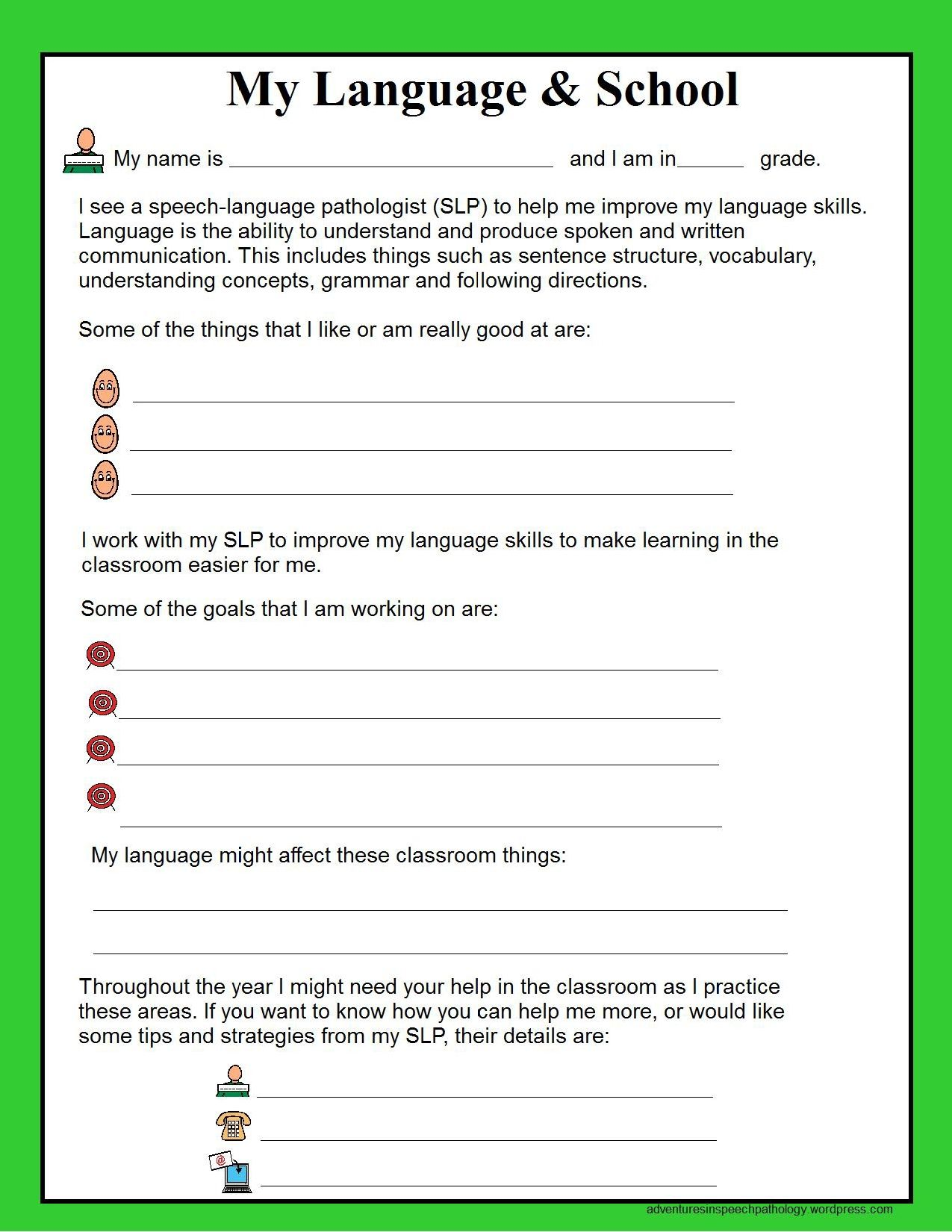 Speech Therapy Goal Sheets For Teachers Freebie  Speech