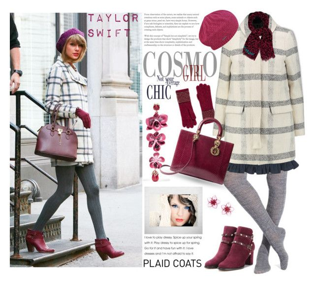 """Pattern Mix: the Plaid Coat as worn by Taylor Swift"" by firstclass1 ❤ liked on Polyvore featuring Etro, Smartwool, Johnstons of Elgin, MANGO, Tory Burch, Valentino, Christian Dior, Louis Vuitton, Dsquared2 and taylorswift"