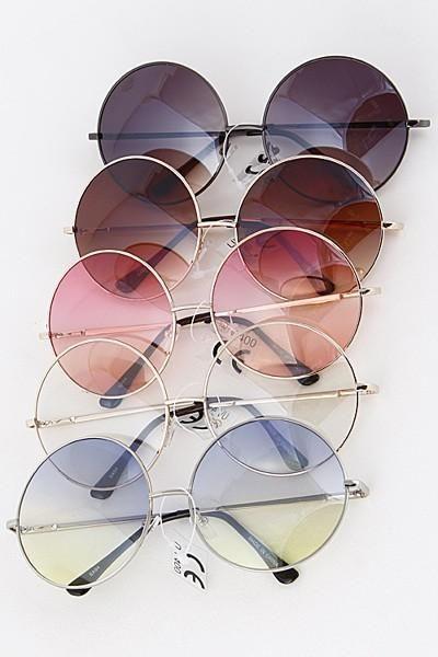 Womens Hippie Round Circle Lens Cat Eye Fashion Retro Sunglasses