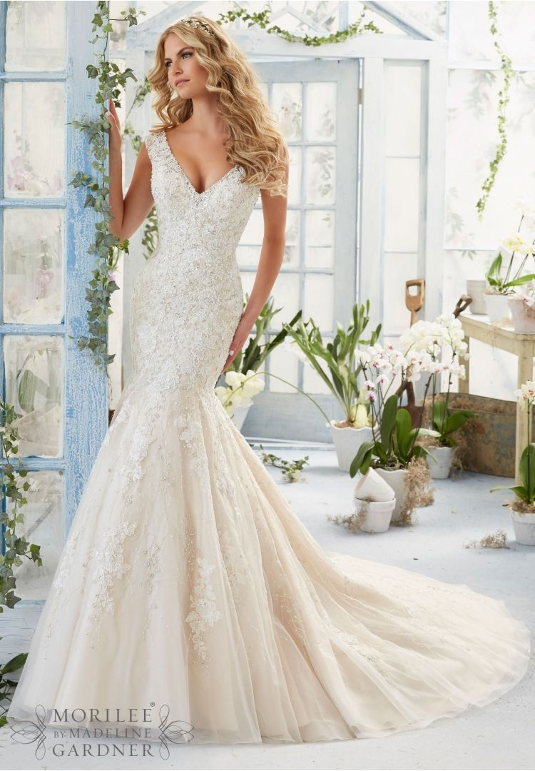 Wedding dress alencon lace appliques and crystal beaded