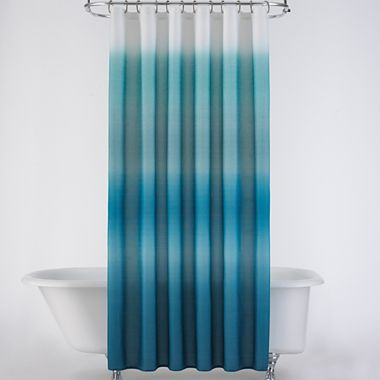 Ribbed Ombr Shower Curtain