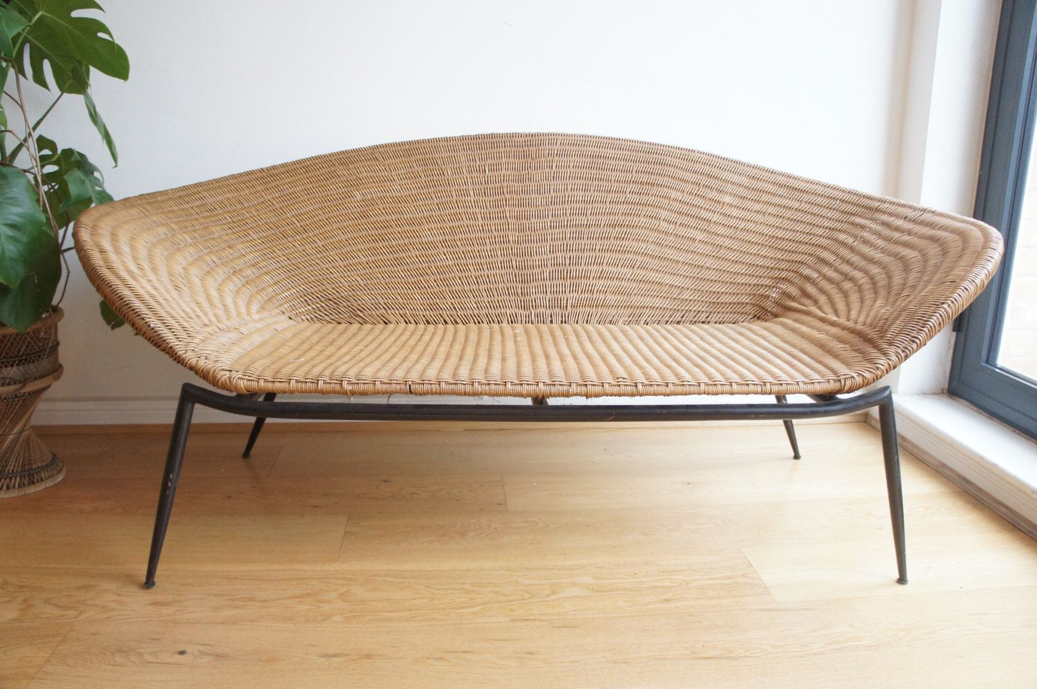 Open Weave Rattan Sofa Mid Century 1950 39s Loveseat Have A Seat Raum