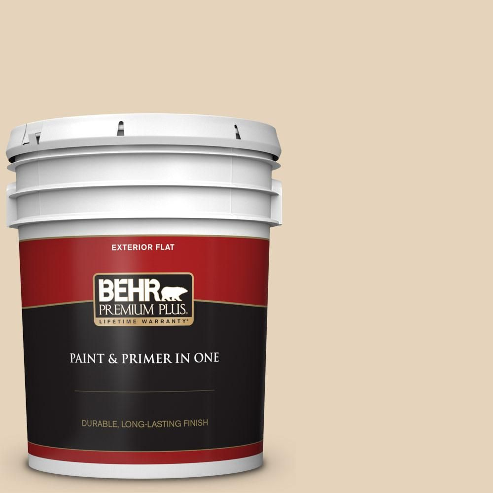 Behr Premium Plus 5 Gal Ecc 53 1 Mown Hay Flat Exterior Paint And Primer In One Exterior Wood Stain Interior Paint Exterior Paint