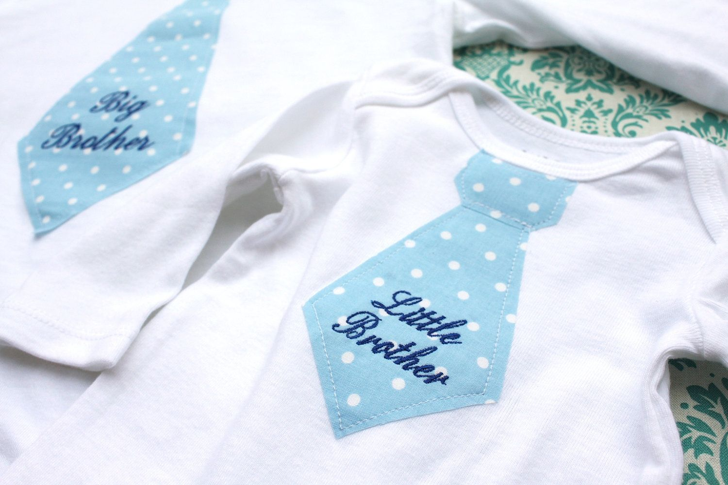 NEW Big Brother Tie T-Shirt & Little Brother Tie Onesie SET. Perfect New - NEW Big Brother Tie T-Shirt & Little Brother Tie Onesie SET