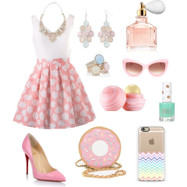 Pastel by the-older-sister on Polyvore featuring polyvore fashion style Christian Louboutin Valentino Arizona Forever New Wildfox Guerlain Eos Topshop