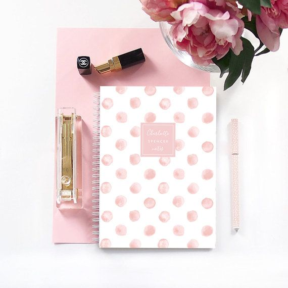 Personalized Notebook  Blush Watercolor Spots by LetterLoveDesigns