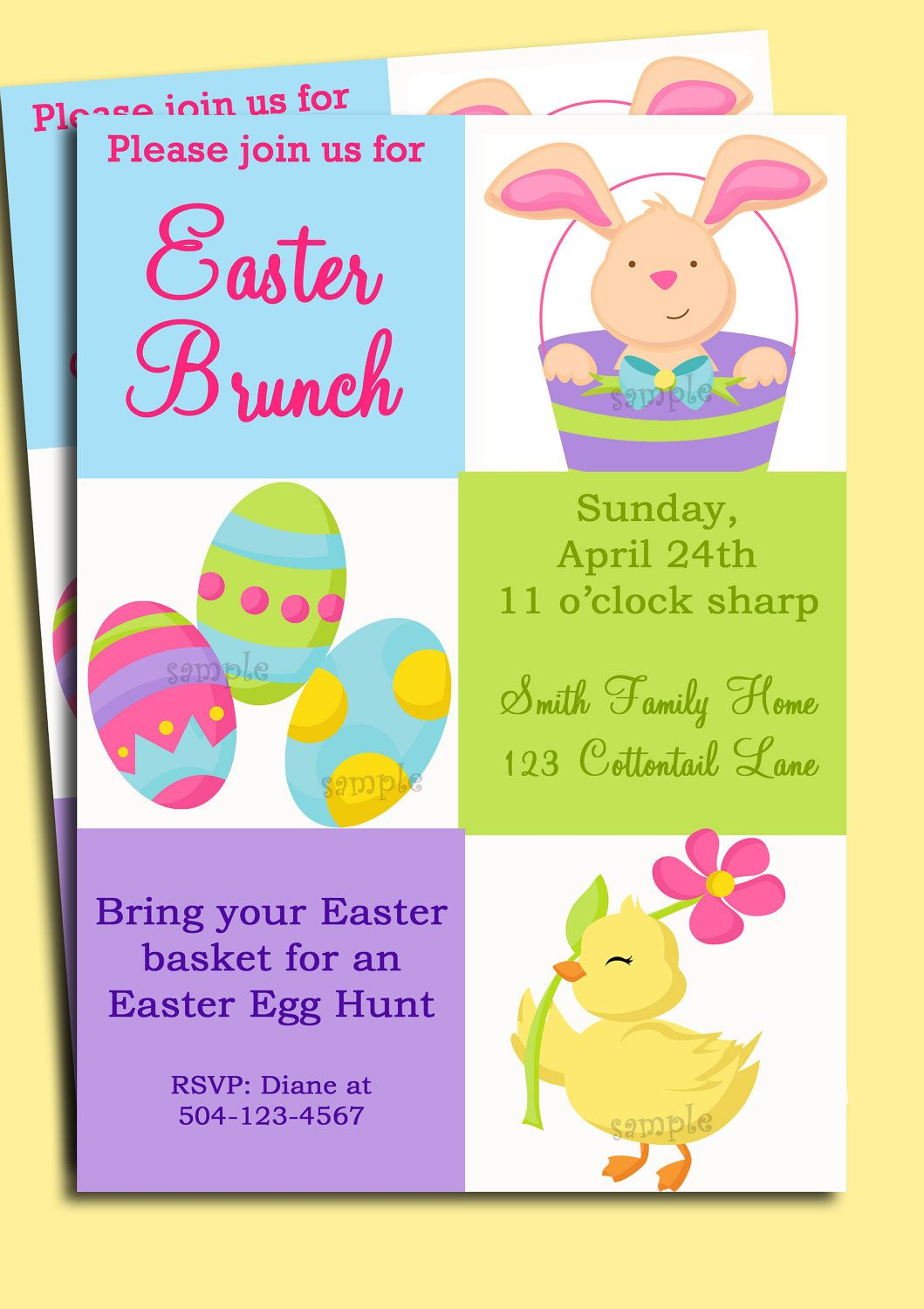 Easter Invitation Printable Or Printed With FREE SHIPPING