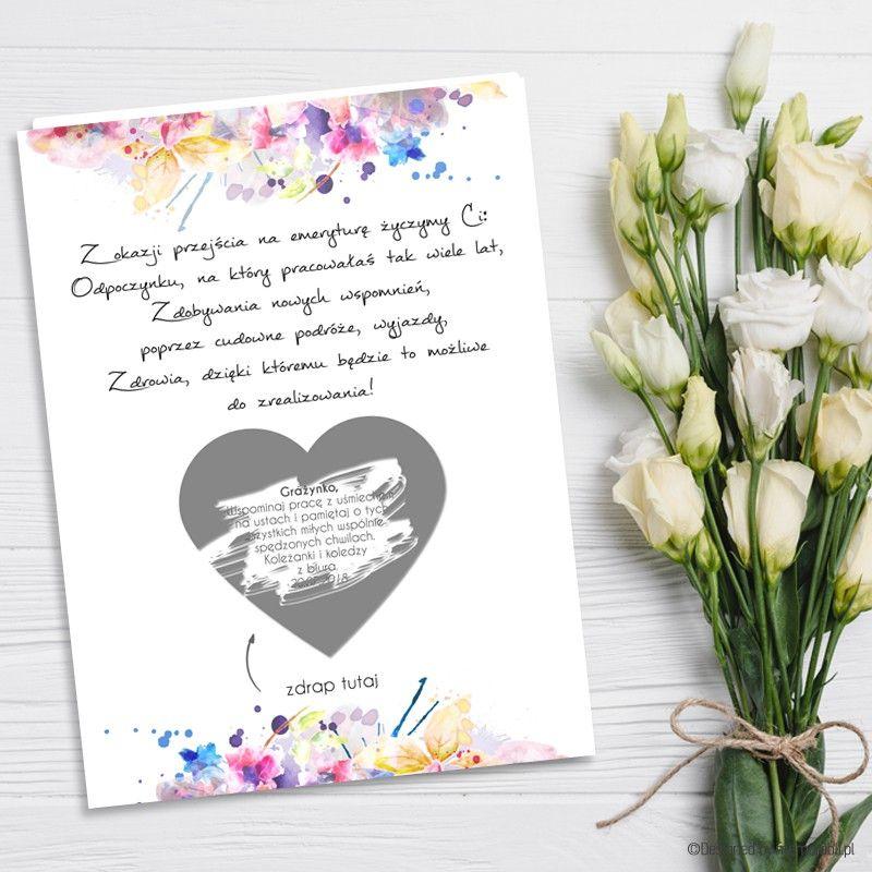 Kartka Dla Emeryta Kolorowe Kwiaty Kartka Zdrapka Przejście Na