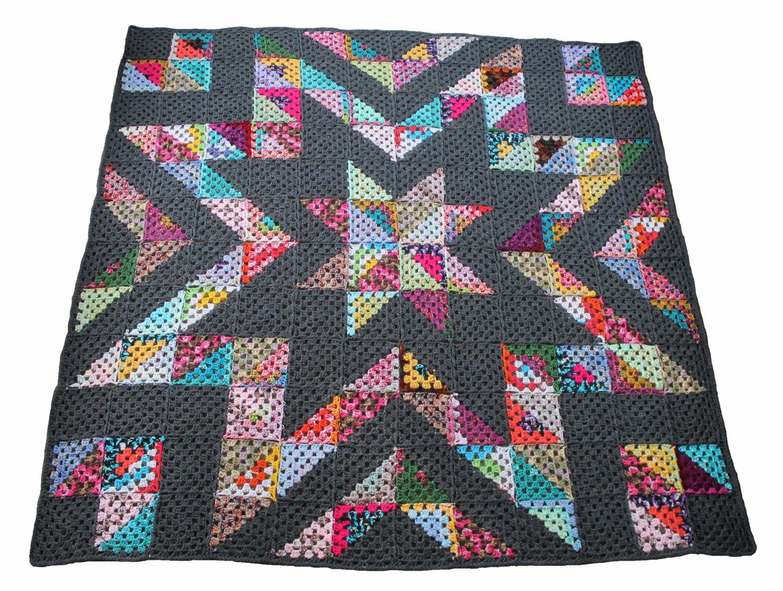 Easy crochet afghan pattern - granny star stashbuster crochet ...
