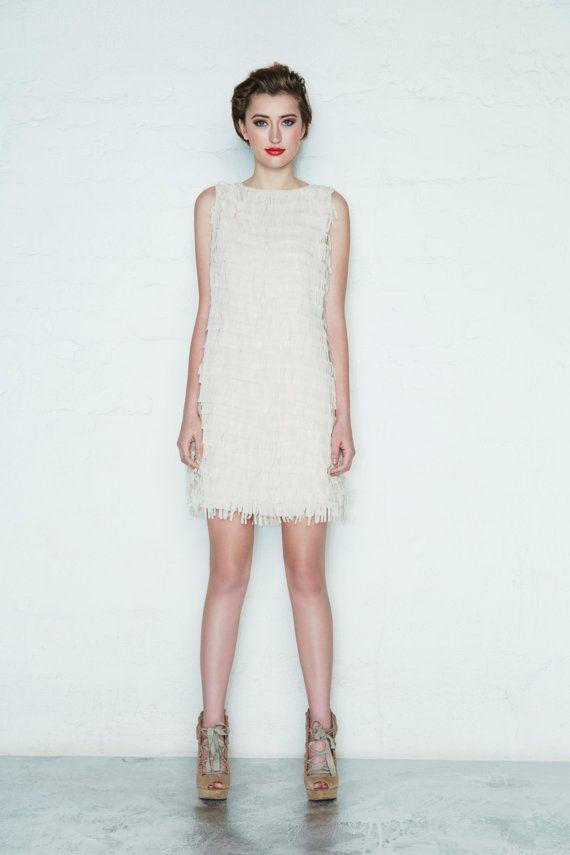 Mod White Fringe Dress, Sixties Simple Wedding Dress, Spring Dress ...