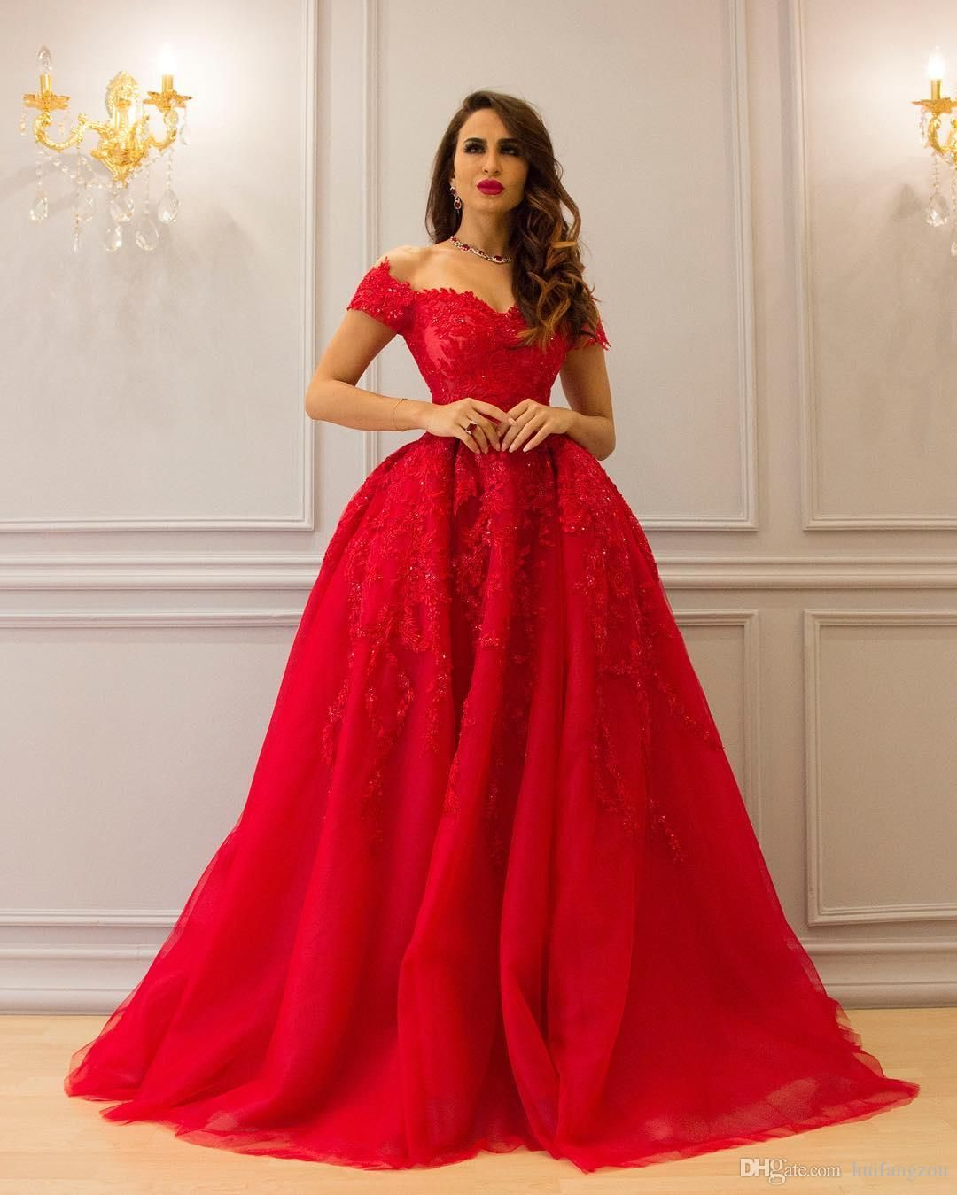 1cbcc1cfd6 Red 2017 Ball Gown Lace Evening Dresses Appliques Beaded Off Shoulder  Neckline Prom Dress Floor Length Ruffles Formal Evening Gowns