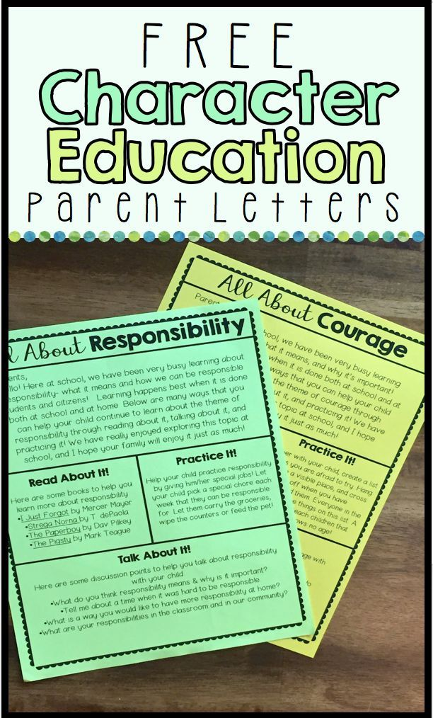 Character Education Parent Letters | back to school ...