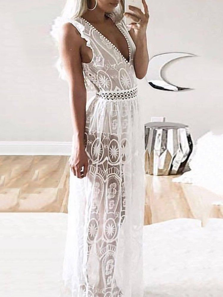 Stylish V Neck See Through Open Back Lace Maxi Dress Moda