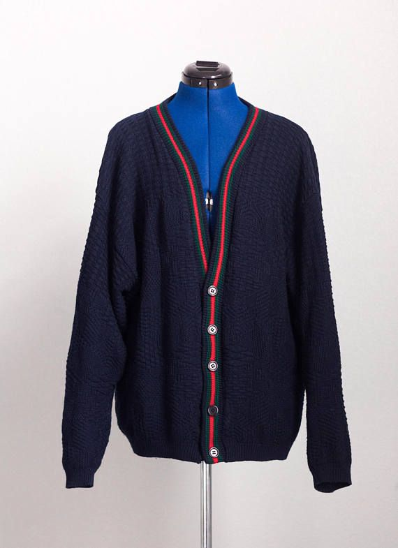 cf30bb081d1 Vintage GUCCI-INSPIRED Green Red Grosgrain Stripe Cardigan by GERARDO ⋆  Navy Blue Knit Cardigan Sweater High Fashion Streetwear Hip Hop