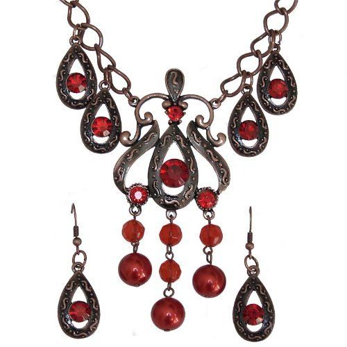 Gothic Fashion Jewelry Necklace & Earring Set Red