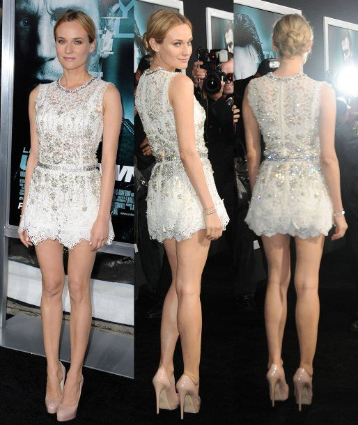 Diane Kruger in a Dolce & Gabbana Spring 2011 white lace and crystal embellished dress with Brian Atwood pumps and a Jaeger-LeCoultre Joaillerie 101 Art Deco watch at the Unknown premiere in LA