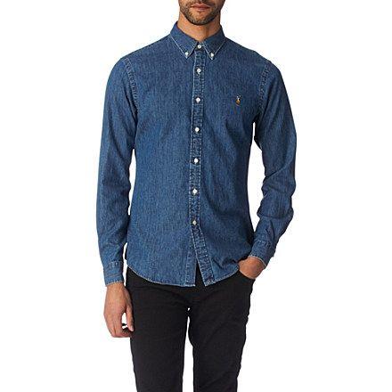 d9f849dbd4c3f RALPH LAUREN Slim-fit denim sport shirt (Dark wash