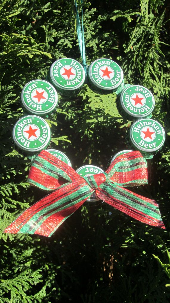 Items similar to Set of 5 Upcycled Beer Bottle Cap Christmas Ornaments on  Etsy - Upcycled Beer Bottle Cap Christmas Ornament By Tadaworkshop Crafts